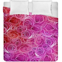 Floral Pattern Pink Flowers Duvet Cover Double Side (king Size)