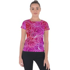 Floral Pattern Pink Flowers Short Sleeve Sports Top  by goodart