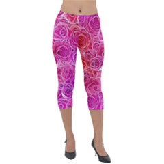 Floral Pattern Pink Flowers Lightweight Velour Capri Leggings  by goodart