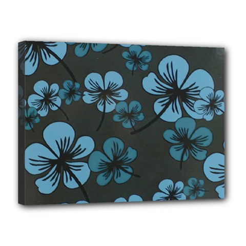 Blue Flower Pattern Young Blue Black Canvas 16  X 12  by goodart