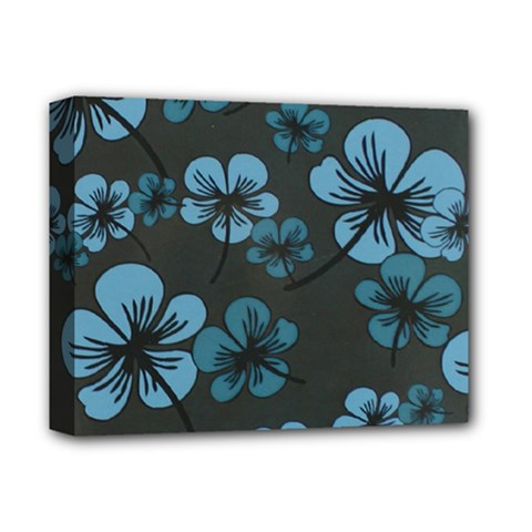 Blue Flower Pattern Young Blue Black Deluxe Canvas 14  X 11  by goodart