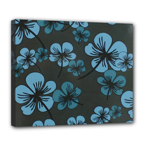 Blue Flower Pattern Young Blue Black Deluxe Canvas 24  X 20   by goodart