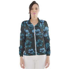 Blue Flower Pattern Young Blue Black Wind Breaker (women) by goodart