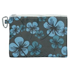 Blue Flower Pattern Young Blue Black Canvas Cosmetic Bag (xl) by goodart