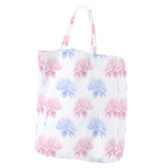 Blue And Pink Flowers Vector Clipart Giant Grocery Zipper Tote