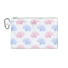 Blue And Pink Flowers Vector Clipart Canvas Cosmetic Bag (medium)