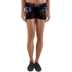 Black And White Dark Flowers Yoga Shorts by goodart