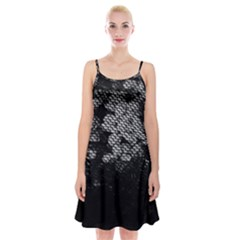 Black And White Dark Flowers Spaghetti Strap Velvet Dress by goodart
