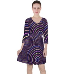 Abtract Colorful Spheres Ruffle Dress by Modern2018