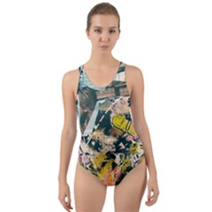 Abstract Art Berlin Cut-out Back One Piece Swimsuit by Modern2018