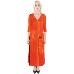 Abstract Orange Quarter Sleeve Wrap Maxi Dress by Modern2018
