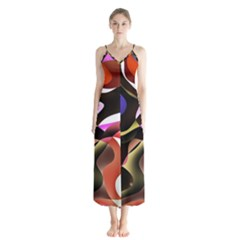 Abstract Full Colour Background Button Up Chiffon Maxi Dress by Modern2018