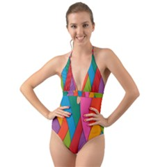 Abstract Background Colrful Halter Cut Out One Piece Swimsuit by Modern2018
