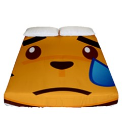 Cat Emoji Sad  Fitted Sheet (queen Size) by goodart