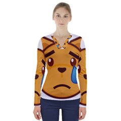Cat Emoji Sad  V Neck Long Sleeve Top by goodart
