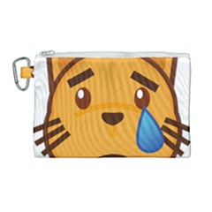 Cat Emoji Sad  Canvas Cosmetic Bag (large)