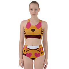 Smiling Cat Face With Heart Shape Racer Back Bikini Set by goodart