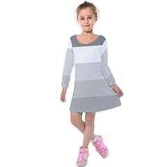 Elegant Shades Of Gray Stripes Pattern Striped Kids  Long Sleeve Velvet Dress