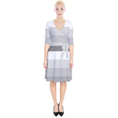 Elegant Shades Of Gray Stripes Pattern Striped Wrap Up Cocktail Dress by yoursparklingshop
