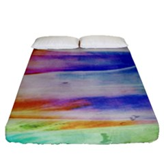 Background Color Splash Fitted Sheet (queen Size) by goodart