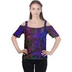 Color Splash Trail Cutout Shoulder Tee by goodart