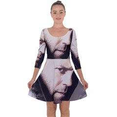 A Tribute To Jason Statham Quarter Sleeve Skater Dress by Naumovski