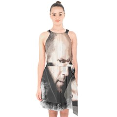 A Tribute To Jason Statham Halter Collar Waist Tie Chiffon Dress by Naumovski