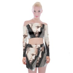 A Tribute To Jason Statham Off Shoulder Top With Mini Skirt Set