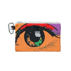Eyes Makeup Human Drawing Color Canvas Cosmetic Bag (small)