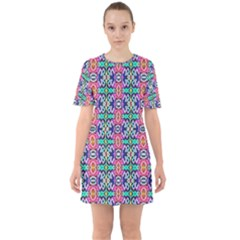 Artwork By Patrick-colorful-34 1 Sixties Short Sleeve Mini Dress by ArtworkByPatrick