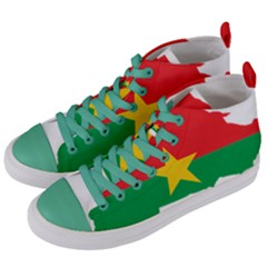 Burkina Faso Flag Map  Women s Mid Top Canvas Sneakers by abbeyz71