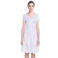 White Marble Tiles Rock Stone Statues Short Sleeve Front Wrap Dress