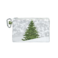 Christmas Xmas Tree Bokeh Canvas Cosmetic Bag (small) by Simbadda