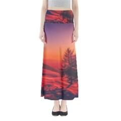 Italy Sunrise Sky Clouds Beautiful Full Length Maxi Skirt