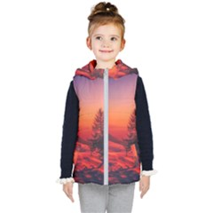 Italy Sunrise Sky Clouds Beautiful Kid s Hooded Puffer Vest