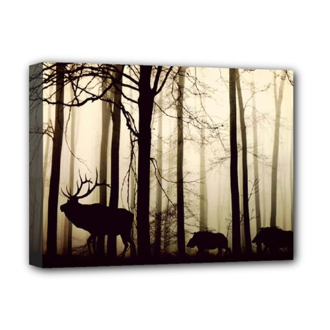 Forest Fog Hirsch Wild Boars Deluxe Canvas 16  X 12