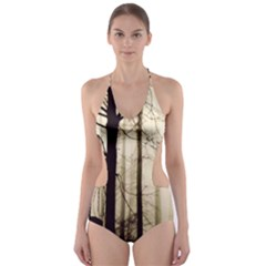 Forest Fog Hirsch Wild Boars Cut-out One Piece Swimsuit by Simbadda
