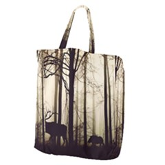 Forest Fog Hirsch Wild Boars Giant Grocery Zipper Tote
