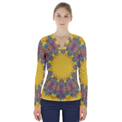 Star Quilt Pattern Squares V Neck Long Sleeve Top