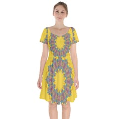 Star Quilt Pattern Squares Short Sleeve Bardot Dress