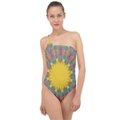 Star Quilt Pattern Squares Classic One Shoulder Swimsuit