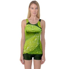 Leaf Green Foliage Green Leaves One Piece Boyleg Swimsuit by Simbadda