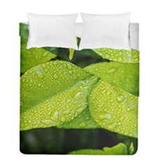 Leaf Green Foliage Green Leaves Duvet Cover Double Side (full/ Double Size) by Simbadda