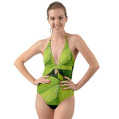 Leaf Green Foliage Green Leaves Halter Cut-out One Piece Swimsuit by Simbadda
