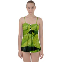Leaf Green Foliage Green Leaves Babydoll Tankini Set