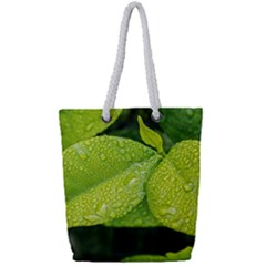 Leaf Green Foliage Green Leaves Full Print Rope Handle Tote (small)