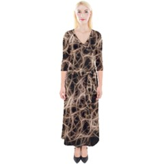 Structure Background Pattern Quarter Sleeve Wrap Maxi Dress