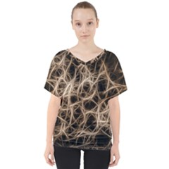 Structure Background Pattern V Neck Dolman Drape Top