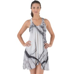 Marble Tiles Rock Stone Statues Show Some Back Chiffon Dress