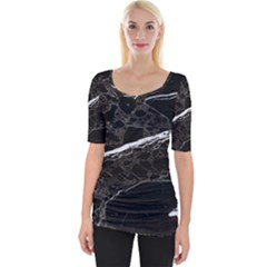 Marble Tiles Rock Stone Statues Wide Neckline Tee